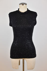 1990's | Romeo Gigli | Sequin Sleeveless Mock Neck Top