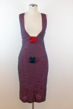 Load image into Gallery viewer, Y2K | Fendi | Purple Linen Dress with Beaded Details