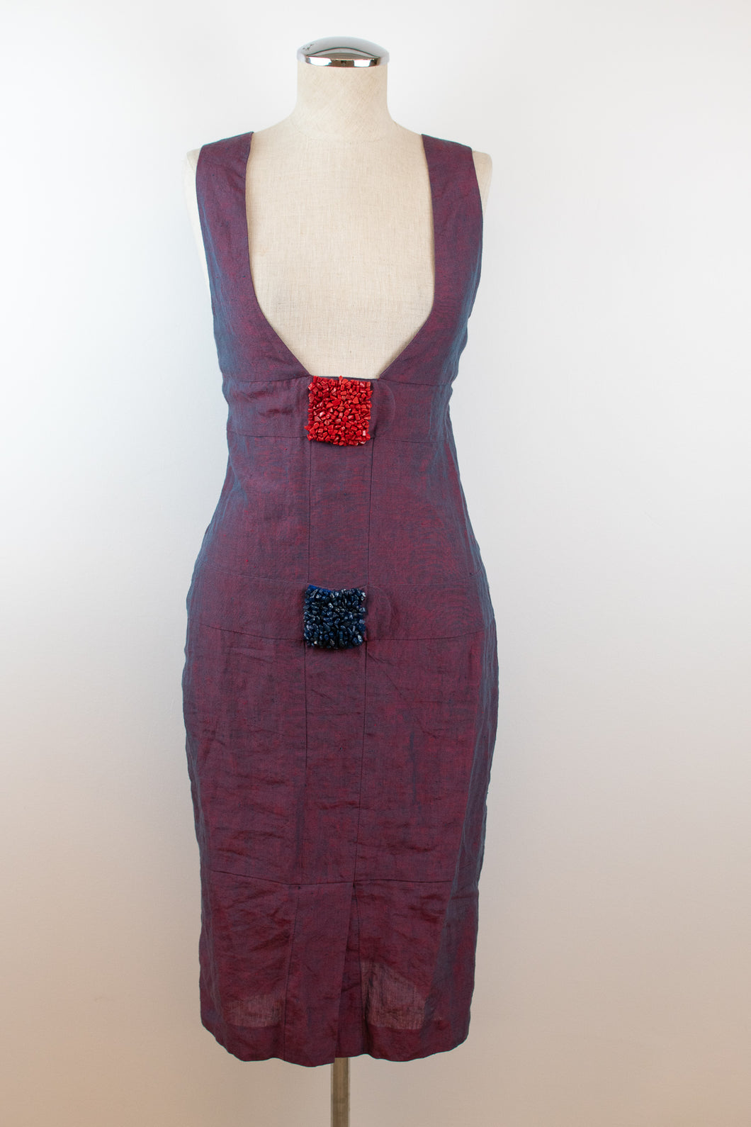 Y2K | Fendi | Purple Linen Dress with Beaded Details