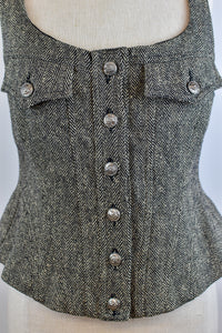 1990's | Bazaar Christian Lacroix | Tweed Vest with Laced Back