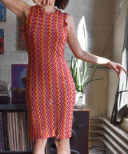 Load image into Gallery viewer, 1990's | Todd Oldham Jeans | Orange and Pink Zig Zag Dress