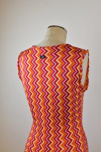 1990's | Todd Oldham Jeans | Orange and Pink Zig Zag Dress