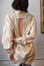 Load image into Gallery viewer, 1990's | Gold Lame Open Back Blouse