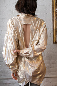 1990's | Gold Lame Open Back Blouse