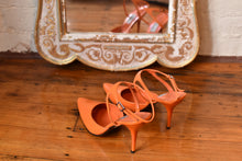 Load image into Gallery viewer, 1990's | Claude Montana | Bright Orange Heels with Ankle Straps