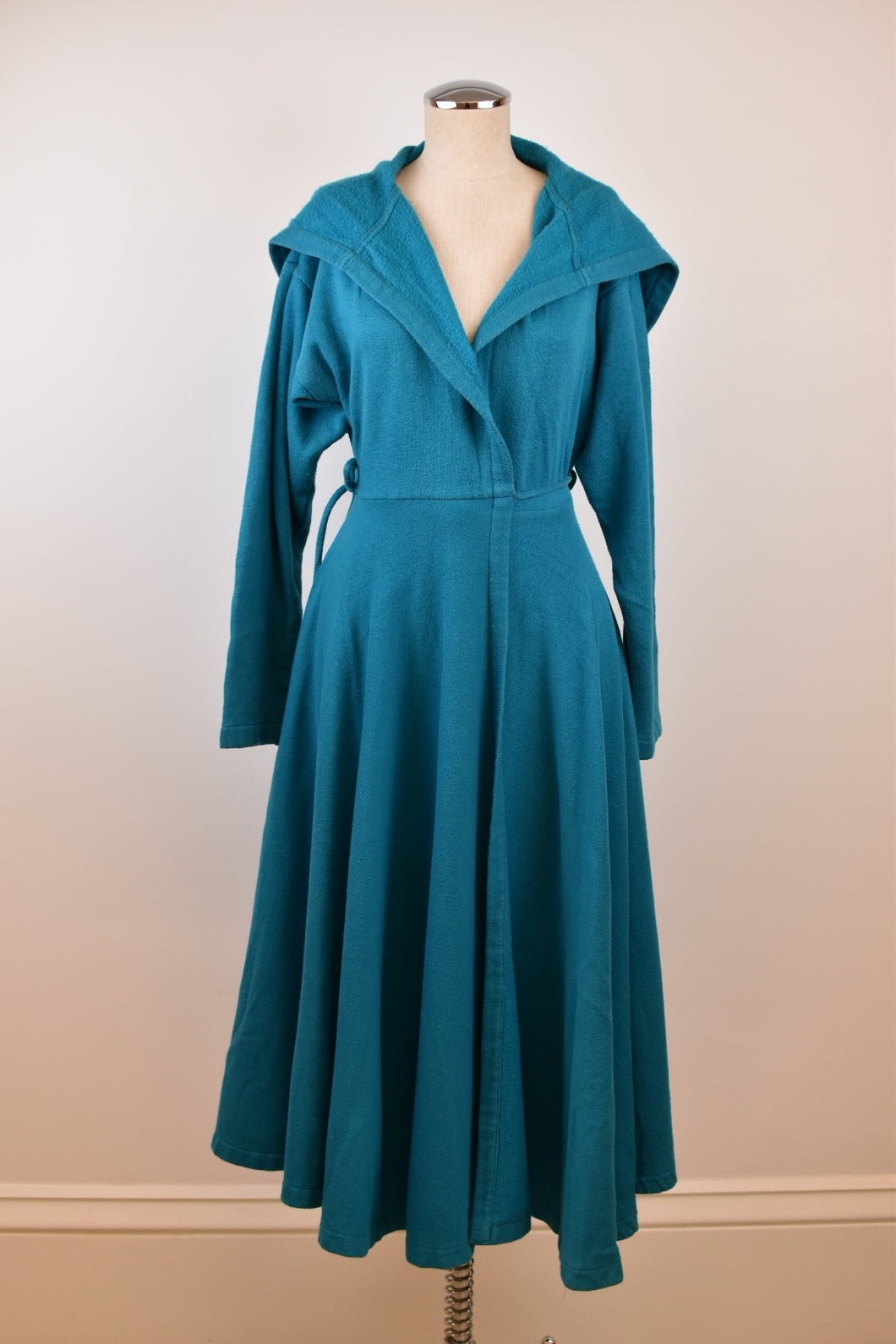 1980's | Norma Kamali | Blue Sweatshirt Wrap Coat