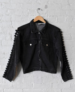 1990's | Stefano International | Black Denim Jacket with Heart Cut Out
