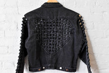Load image into Gallery viewer, 1990's | Stefano International | Black Denim Jacket with Heart Cut Out