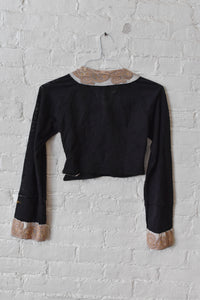 1990's | Voyage Invest in the Original | Sheer Black Crop Top with Asymmetrical Buttons