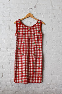 1990's | Kathryn Dianos | Knit Gingham Strawberry Dress