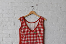 Load image into Gallery viewer, 1990's | Kathryn Dianos | Knit Gingham Strawberry Dress