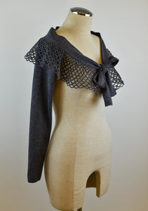 1990's | Angelo Tarlazzi | Knit Shrug with a Crochet Collar