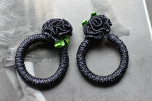 Load image into Gallery viewer, 1990's | Black Ribbon Rose Hoops