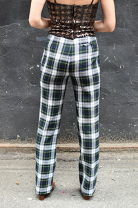 1990's | Anna Sui | Plaid Pants with Sailor Button Front