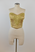 Load image into Gallery viewer, 1990's | Victoria's Secret | Gold Quilted Bustier Top