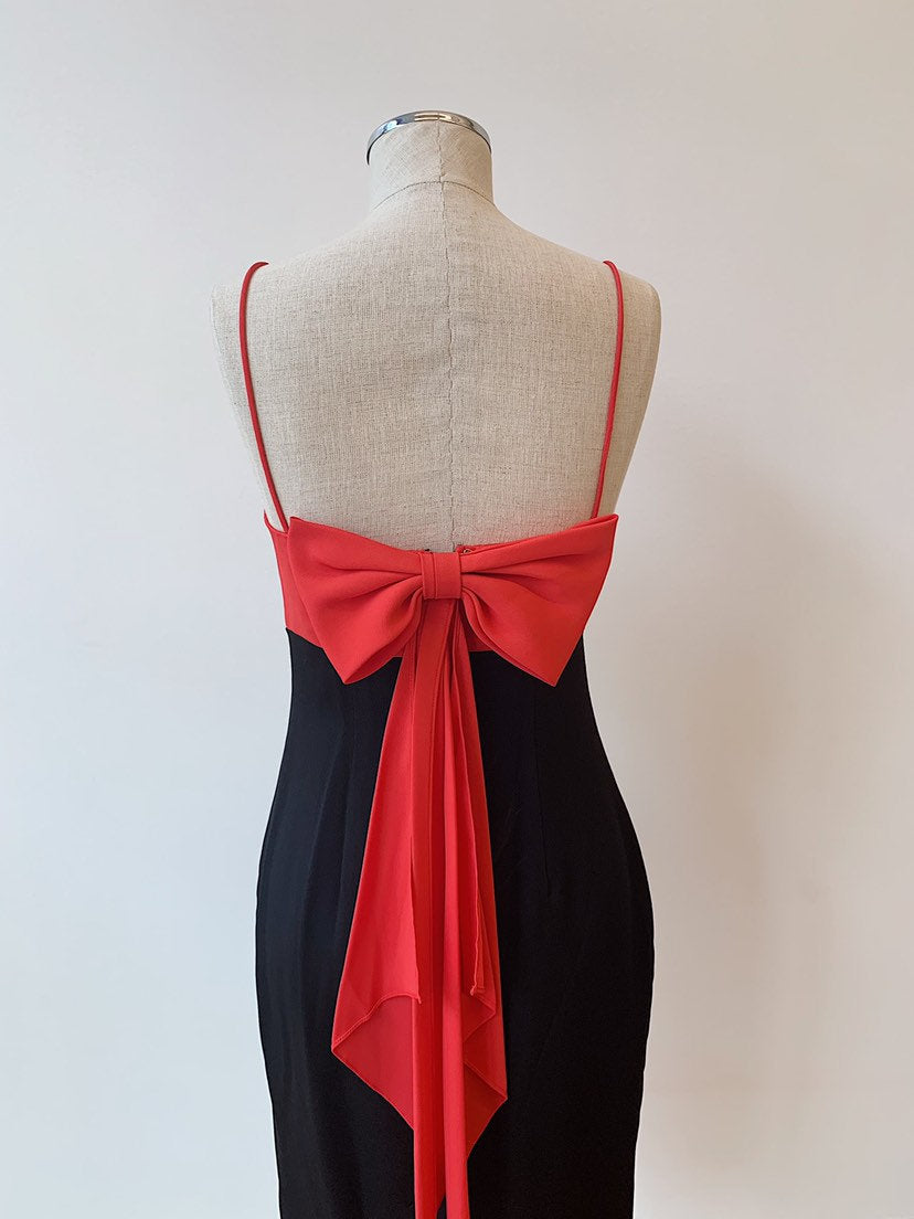 1990's | Donna Ricco | Black and Pink Dress with Bow Back
