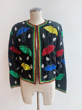 Load image into Gallery viewer, 1990's | Silk and Sequins Rain Drop and Umbrella Motif Jacket
