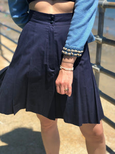 1990's | Karl Lagerfeld | Navy Pleated Shorts