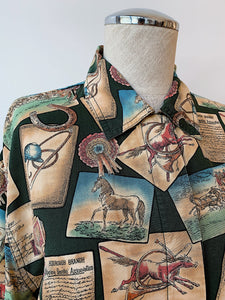 1990's | Liz Wear | Horse Race Novelty Print Button Down