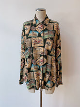 Load image into Gallery viewer, 1990's | Liz Wear | Horse Race Novelty Print Button Down