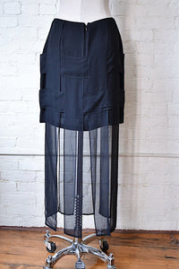 1990's | Dina Bar-el | Silk Basket Weave Skirt with Car Wash Hem