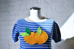 1990's | Sonia by Sonia Rykiel | Short Sleeve Knit Top with Oranges