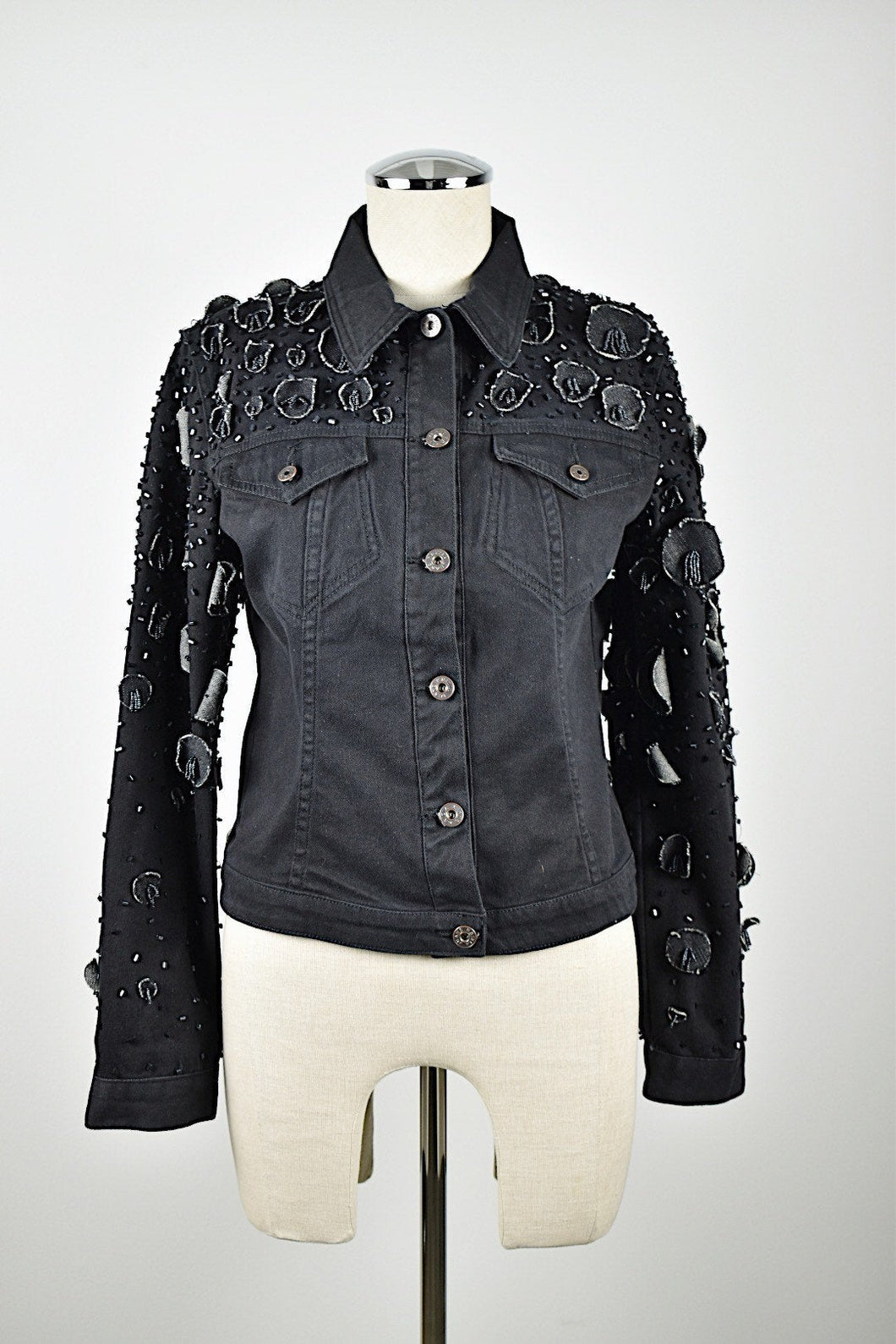 Krizia | Black Denim Jacket with Embellishments