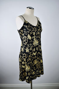 August Silk | Black and Gold Slip Dress
