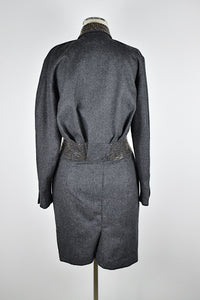 1990's | Claude Montana | Wool Dress with Silver Studs