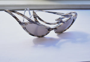1980's | Horn Pattern Sunglasses with Asymmetrical Ornamentation