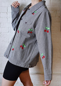 1990's | Lightweight Gingham Jacket with Embroidered Cherries