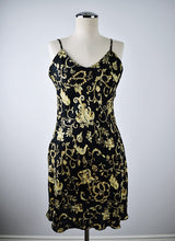 Load image into Gallery viewer, August Silk | Black and Gold Slip Dress
