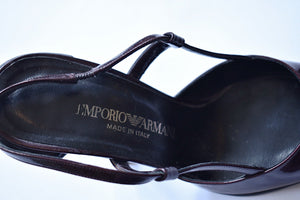 Emporio Armani | Burgundy Pointed Toe Sling Backs with Sculptural Heel