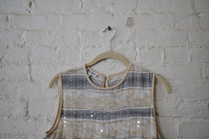 1990's | Y2K | Giorgio Armani | Gray and Beige Sequined Shell