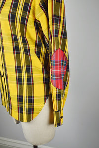 1990s | Todd Oldham | Plaid Button Down with Contrasting Elbow Patches