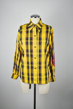 Load image into Gallery viewer, 1990s | Todd Oldham | Plaid Button Down with Contrasting Elbow Patches