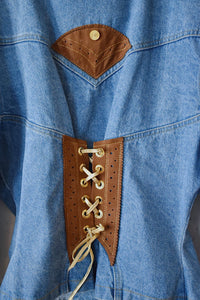 1990's | Cache | Denim Western Jacket with Corset Lacing