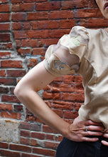Load image into Gallery viewer, Y2K | Eva Brawn | Beige Puff Sleeve top with Embroidered Fish
