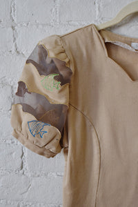 Y2K | Eva Brawn | Beige Puff Sleeve top with Embroidered Fish