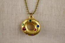 Load image into Gallery viewer, 1990's | Todd Oldham |  Donut Charm Necklace with Colorful Rhinestones