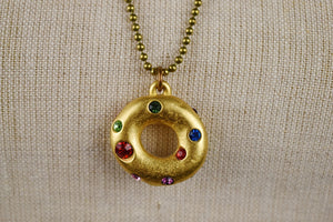 1990's | Todd Oldham |  Donut Charm Necklace with Colorful Rhinestones