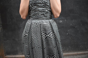 1990's | Louis Feraud | Black and White Op Art Chiffon Strapless Dress