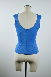 1990's | Thierry Mugler | Sleeveless Blue Top with Tie Front
