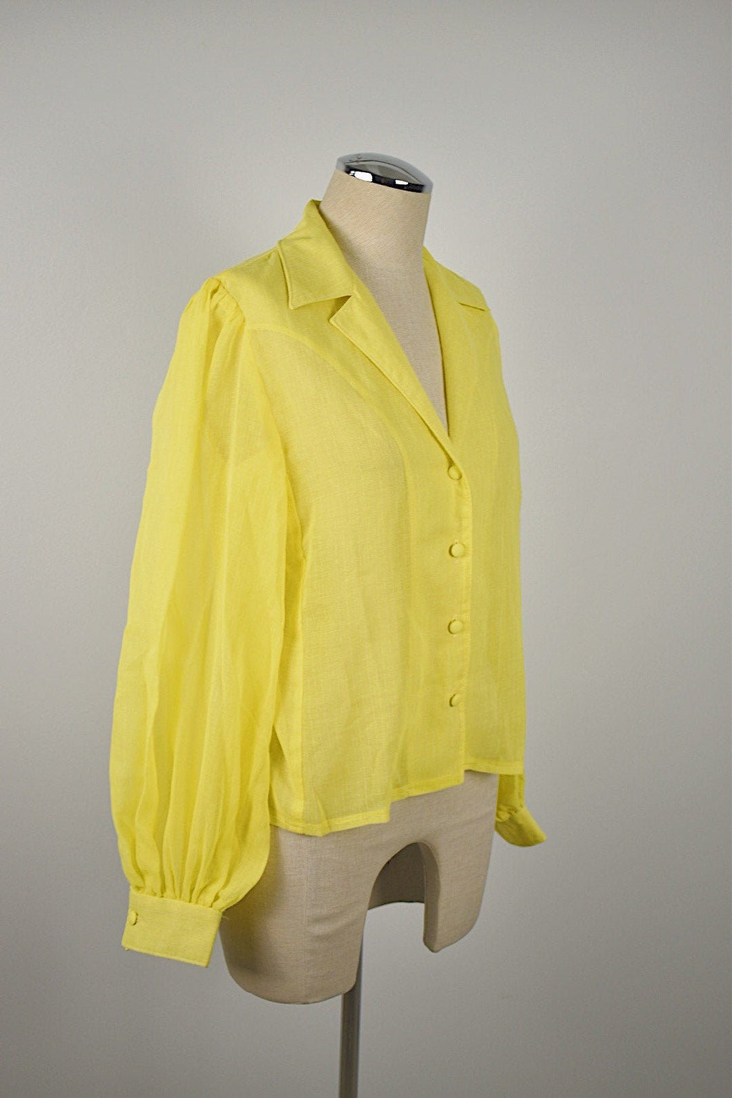 1980's | Sheer Canary Yellow Blouse