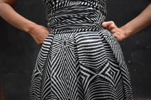 Load image into Gallery viewer, 1990's | Louis Feraud | Black and White Op Art Chiffon Strapless Dress