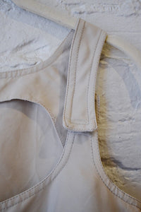 1990's | Claude Montana | Beige Sleeveless Top with Velcro Straps
