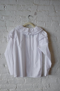 1980's | White Cotton Puff Sleeve Blouse with Lace Detailing