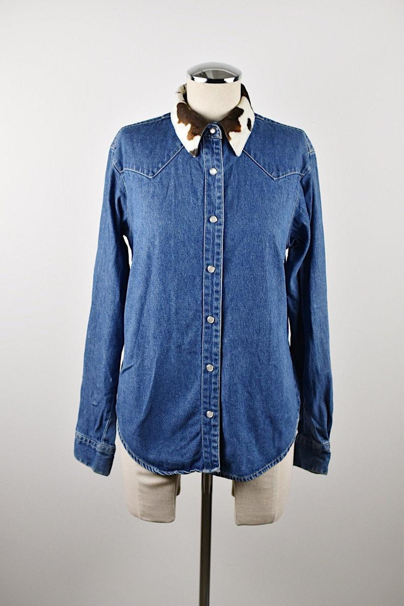 1990's | Bill Blass | Western Style Denim Button Up with Faux Fur Collar