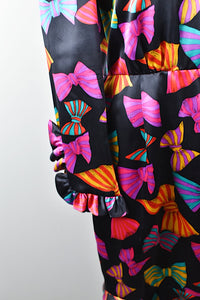 1980's | Carolina Herrera for Neiman Marcus | Silk Dress with Bow Print