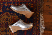 Load image into Gallery viewer, No. 6 | Silver Metallic Wedge Clogs | Size 40